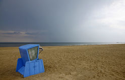 Hooded beach chair at the Baltic sea. In Swinoujscie, Poland Stock Photos