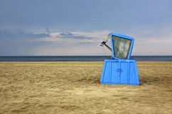 Hooded beach chair at the Baltic sea Stock Photos
