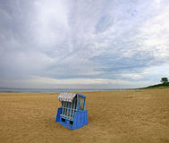 Hooded beach chair at the Baltic sea Stock Images