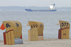 Hooded beach chairs. On a beach near Kiel in northern Germany Stock Image