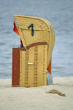Hooded beach chairs. On a beach near Kiel in northern Germany Royalty Free Stock Photos