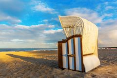 Hooded beach chairs at the beach in Ahlbeck, Germany Royalty Free Stock Photography