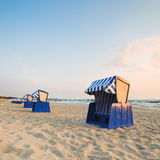 Hooded beach chairs on Island Rugen Royalty Free Stock Image