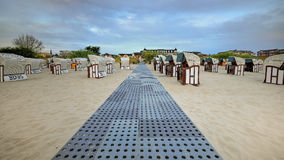 Hooded beach chairs (strandkorb) at the Baltic Stock Photography