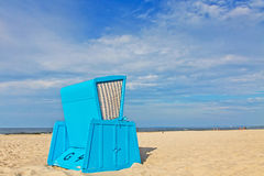 Hooded beach chairs (strandkorb) at the Baltic seacoast. In Swinoujscie city, Poland Stock Photo