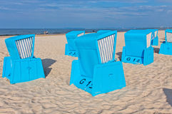 Hooded beach chairs (strandkorb) at the Baltic seacoast Stock Photography