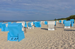 Hooded beach chairs (strandkorb) at the Baltic seacoast. In Swinoujscie, Poland Stock Image