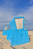 Hooded beach chairs (strandkorb) at the Baltic seacoast. In Swinoujscie, Poland Royalty Free Stock Photography