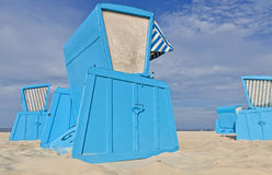 Hooded beach chairs (strandkorb) at the Baltic seacoast. In Swinoujscie, Poland Royalty Free Stock Images