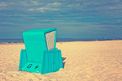 Hooded beach chairs (strandkorb) at the Baltic seacoast Royalty Free Stock Photography