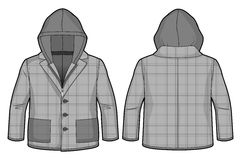 Hooded checkered grey jacket with zip closure and pockets. Front and back view of a hooded checkered grey jacket with zip closure and pockets stock illustration