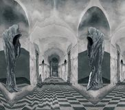 Two Hooded Figure in the castle. Hooded Figure in the castle without faces in black and white. Abstract art royalty free stock image