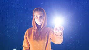Hooded girl points with her hand in a cyberspace digital environment, ideal for topics such as ecology and online safety royalty free stock image