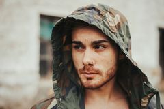 Free Hooded Guy In The Street Stock Image - 80832281