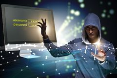 The hooded hacker in data computer security concept Royalty Free Stock Image