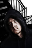 hooded intimidating male Στοκ εικόνες με δικαίωμα ελεύθερης χρήσης