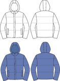 Hooded jacket. Vector illustration of men's hooded jacket. Front and back views Royalty Free Stock Photo