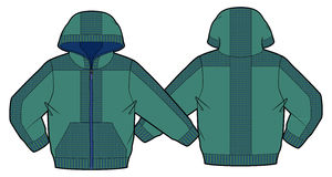 Hooded jacket with zip closure and pockets. Front and back view of a hooded jacket with zip closure and pockets vector illustration