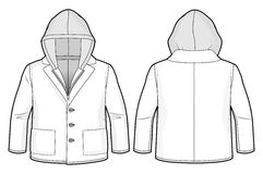 Hooded jacket with zip closure and pockets. Front and back view of a hooded jacket with zip closure and pockets stock illustration