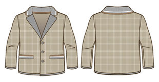 Hooded light brown jacket with zip closure and pockets. Front and back view of a hooded light brown jacket with zip closure and pockets royalty free illustration