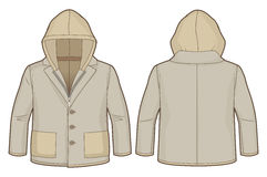 Hooded light brown jacket with zip closure and pockets. Front and back view of a hooded light brown jacket with zip closure and pockets stock illustration