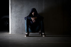 Hooded man Stock Photography