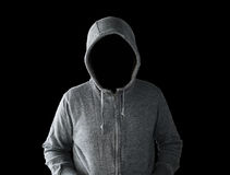 Hooded man with empty face Royalty Free Stock Photography