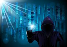 Hooded man, hacker on a digital background royalty free illustration