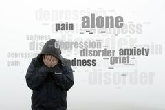 A hooded man holding his head in his hands. With a word cloud of mental health issues. On a plain white background.  stock images