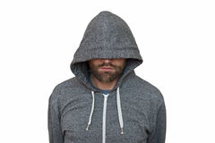 Hooded man Stock Images