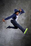 Hooded Man Jumping Royalty Free Stock Photo