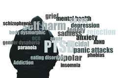 A hooded man looking down and in pain. With a word cloud of mental health issues. On a plain white background.  stock image