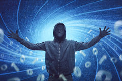 Hooded man with mask expression Royalty Free Stock Photo