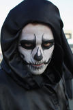 Hooded man in Rijeka Carnival. It is the biggest carnival in Croatia. 2013 royalty free stock images