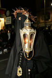 Hooded portrait. A portrait of a black hooded in the famous easter procession at piano di sorrento in italy.29/3/13 Royalty Free Stock Image