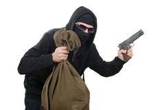 Hooded robber with  bag of money Royalty Free Stock Image
