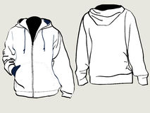 Hooded sweat shirt. Design template with front and back Stock Photo