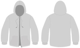Hooded sweater with zipper vector template Stock Photos