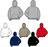 Hooded sweatshirt. Vector fashion illustration of a hooded sweatshirt with front and back views in multiple colorways. Images and details are isolated and can be Stock Images