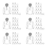 Hooded sweatshirt template different vector models, front and ba vector illustration