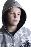 Hooded teenage boy royalty free stock image