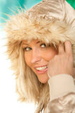 Hooded woman. Portrait of young beauty woman wearing hooded parka Royalty Free Stock Photo