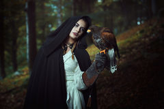 Hooded woman with hawk in dark woods. Black hooded woman with harris hawk in dark woods. Fantasy concept Stock Image