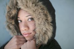 Hooded woman portrait Stock Image