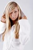 Hoodie branco desgastando da menina Fotos de Stock Royalty Free