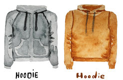 Hoodie. drawn watercolor illustration. Royalty Free Stock Photos