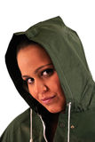 Hoodie girl. On white background stock images