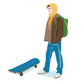 Hoodie. An illustration of a guy in a hoody, with rucksack and skateboard Royalty Free Stock Photos