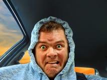 Hoodie przelękły kierowca obraz stock