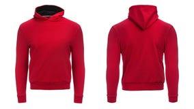 Hoodie rouge, maquette de pull molletonné, d'isolement sur le fond blanc Photos libres de droits